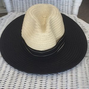 Vince Camuto Paper Fedora with Ribbon Black Straw